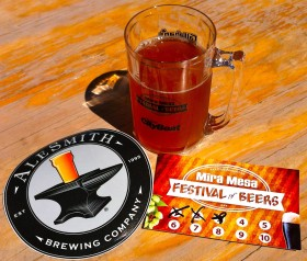 AleSmith sticker, tasting glass and sample tracking card